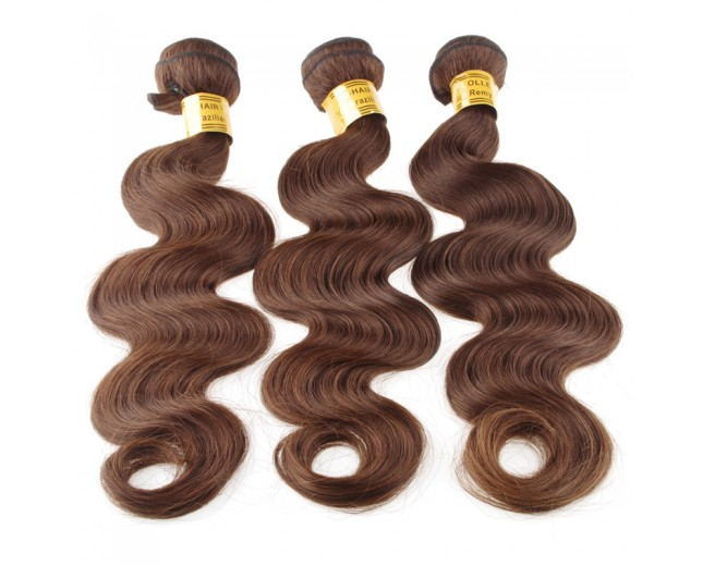 Medium Brown(4#) Brazilian Virgin Remy Hair Weave Body Wave BR005