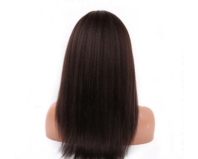 Dark Brown(#2) Coarse Yaki Lace Front Wigs Brazilian Virgin Hair LFW006