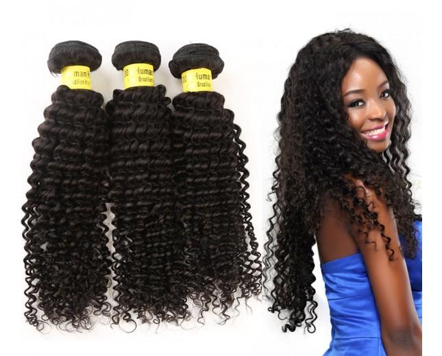 3pcs/lot Kinky Curly Brazilian Virgin Hair Weave Bundles BD003