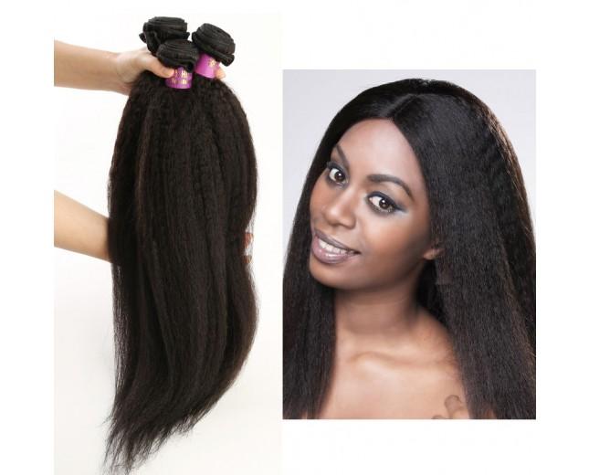 3 Bundles Kinky Straight Malaysian Virgin Hair Extensions 8''-30'' MD0010