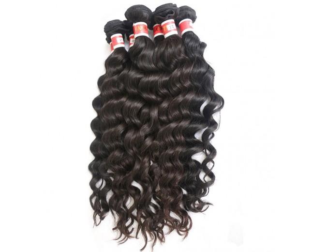 3pcs/lot Deep Wave Virgin Peruvian Hair Weave Mixed Length PD007