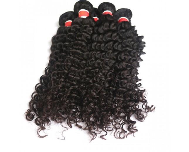 3pcs/lot Deep Curly Virgin Peruvian Hair Weave Bundles PD008