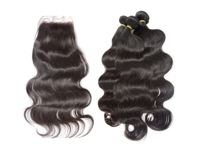 3 Bundles Hair with 1pc Lace Closure Body Wave Virgin Peruvian Hair PL003