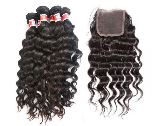3 Bundles Deep Wave Hair with 1pc Lace Closure Virgin Peruvian Hair PL008