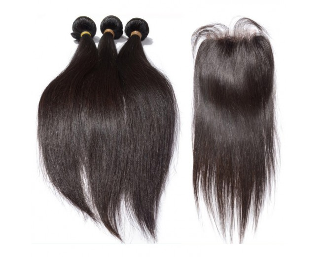 4 bundles18 20 22 24 straight hair with 1pcs 14inch straight silk base closure 4*4