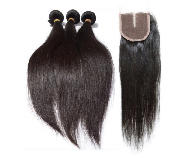 3 Bundles Hair with 1pc Middle Part Lace Closure Virgin Malaysian Hair Straight ML002