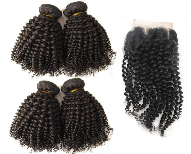 4 Bundles Kinky Curly Hair with 1pc Lace Closure Virgin Brazilian Hair BL0027