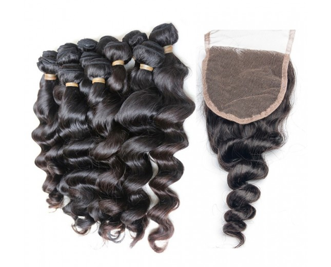 4 Bundles Loose Wave Hair with 1pc Lace Closure Virgin Brazilian Hair BL0028