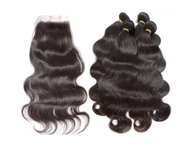 4 Bundles Body Wave Hair with 1pc Lace Closure Virgin Peruvian Hair PL0020