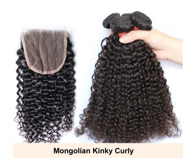3 Bundles Hair with 1pc Lace Closure Virgin Mongolian Kinky Curly Hair GL001