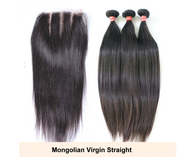 3 Bundles Hair with 1pc Lace Closure Virgin Mongolian Straight Hair GL003