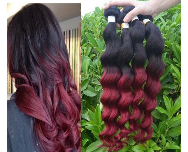 3pcs/lot Brazilian Ombre Burgundy Loose Wave Remy Hair Two Tone Color BR0048