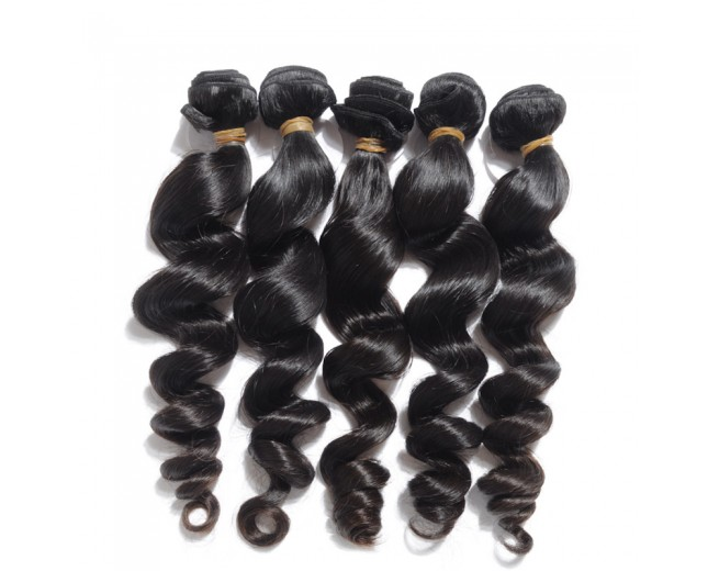 Jet Black(#1) Loose Wave Brazilian Virgin Hair BV0016