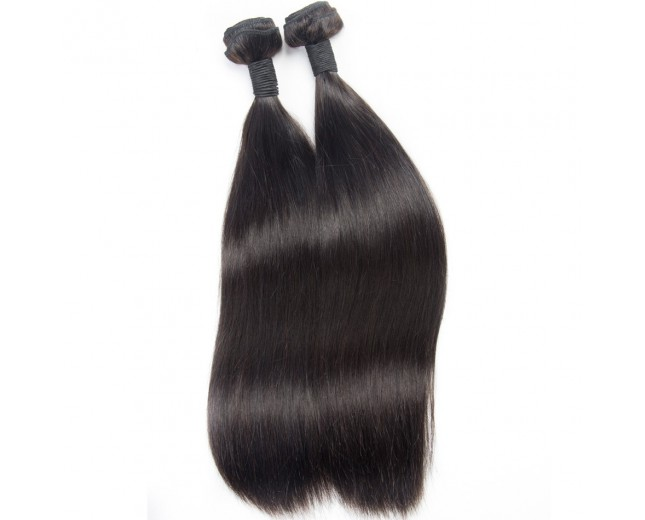 Jet Black(#1) Straight Brazilian Virgin Hair Extensions BV0021