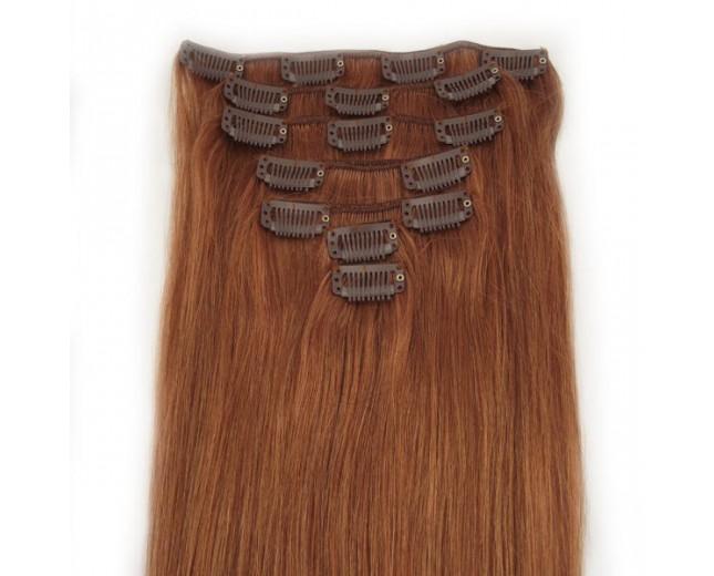 #30 Medium Auburn Clip In Hair Extensions Straight CR0017