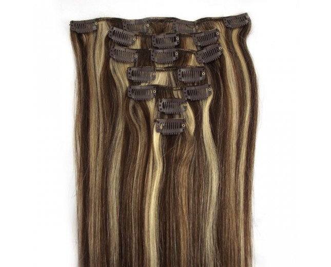 #4/613 Clip In Hair Extensions Straight CR0011
