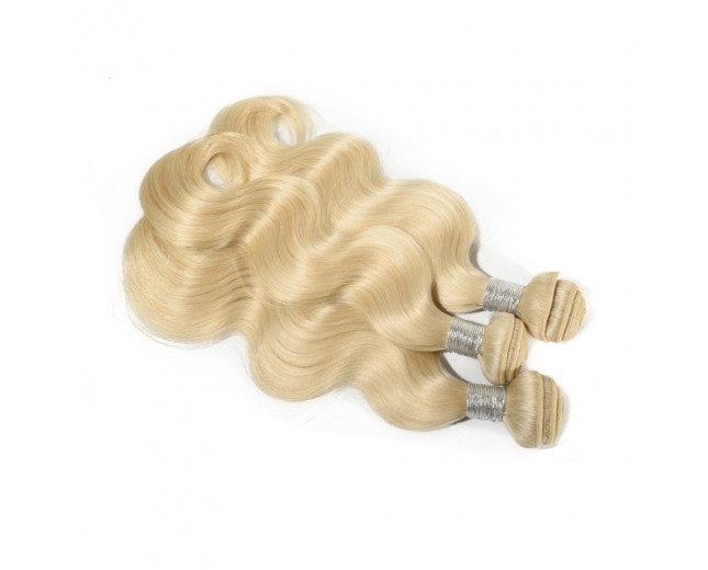 3 Bundles Body Wavy Brazilian Virgin Remy Hair Bleach Blonde #613 BD0031