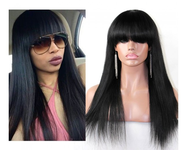Brazilian Straight Lace Front Wig with Bangs 100% Human Hair LFW0037