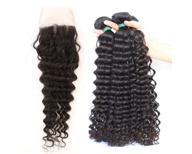 3 Bundles Hair with 1pc Lace Closure Deep Curly Virgin Indian Hair IL005