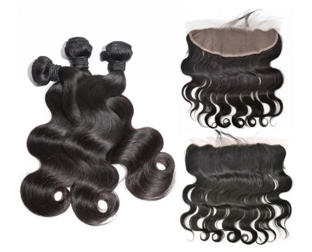 3 Bundles Body Wave Hair with 1pc 13''*4'' Lace Frontal Virgin Brazilian Hair BF001