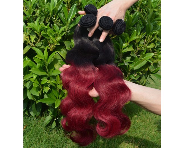 Brazilian Body Wave Ombre Burgundy Remy Hair Extensions Two Tone Color BR0012