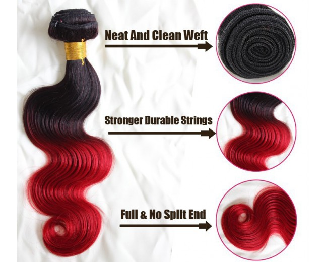 Brazilian Ombre Body Wave Remy Hair Two Tone Color 1B/Red BR0034
