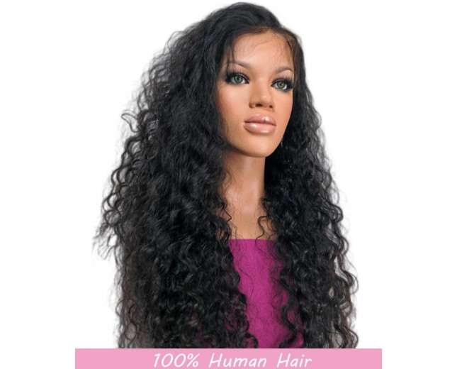 Curly Lace Front Wigs Brazilian Virgin Hair LFW0026