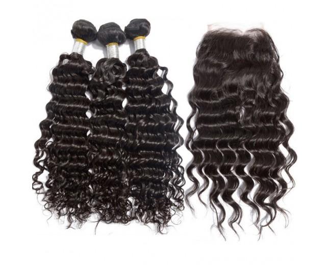 3 Bundles Deep Wave Hair with 1pc Lace Closure Virgin Brazilian Hair BL007