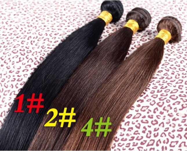 Cheap Straight Brazilian Virgin Hair Extensions Color 1#/1B#/2#/4# BV0035