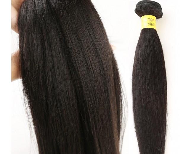 Light YAKI Straight Virgin Brazilian Hair Weave BV007