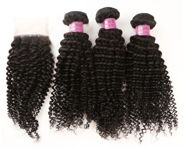 3 Bundles Kinky Curly Hair with 1pc Lace Closure Virgin Malaysian Hair ML008