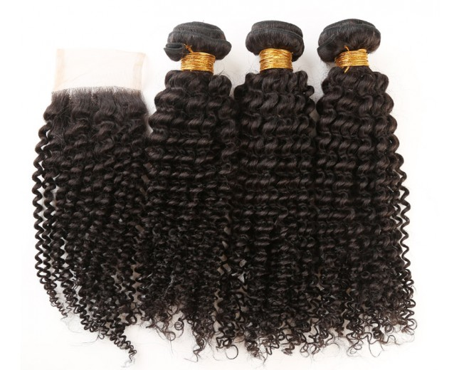 3 Bundles Kinky Curly Hair with 1pc Lace Closure Virgin Peruvian Hair PL006