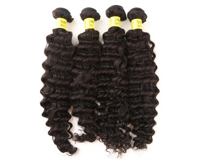 4pcs/lot Brazilian Deep Curly Virgin Hair Weave Bundles BD0065