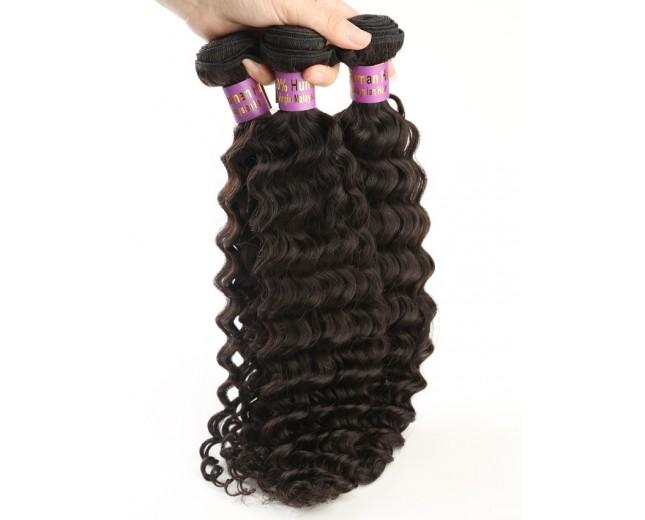 3pcs/lot Deep Curly Virgin Malaysian Hair Weave Bundles MD002