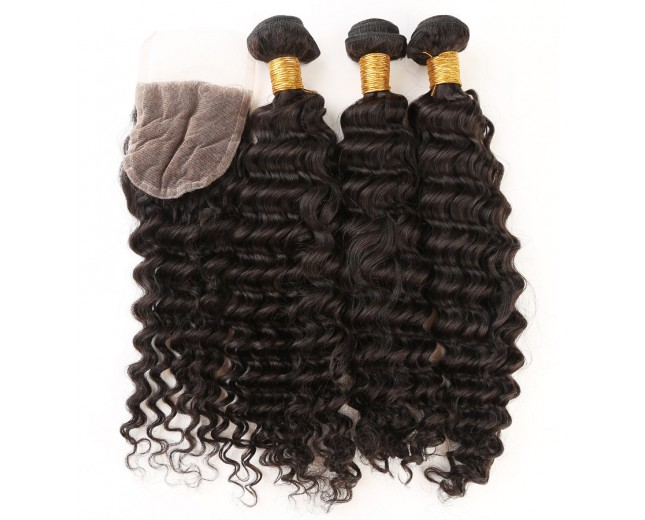 3 Bundles Deep Curly Hair with 1pc Lace Closure Virgin Peruvian Hair PL0010