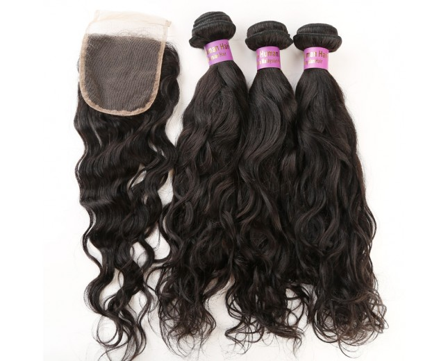 3 Bundles Water Wave Hair with 1pc Lace Closure Virgin Malaysian Hair ML0012