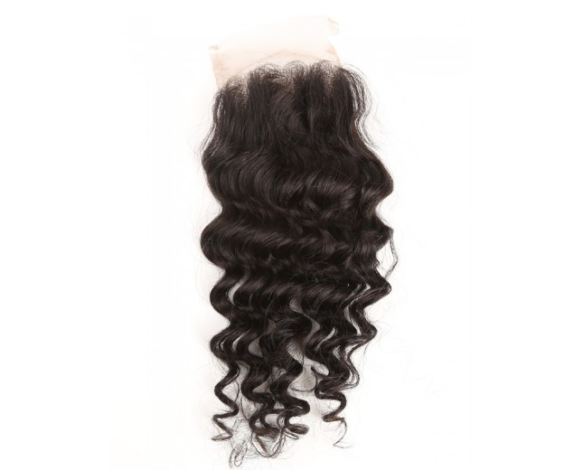 Brazilian Deep Wave Lace Closure Free Middle 3 Part Virgin Hair Closure LC003