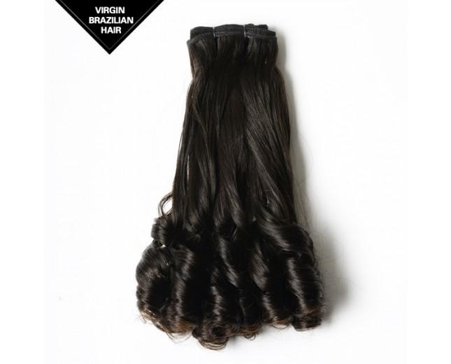 Bouncy Curl Brazilian Virgin Hair Weave Double Drawn Hair Weft BRV0012