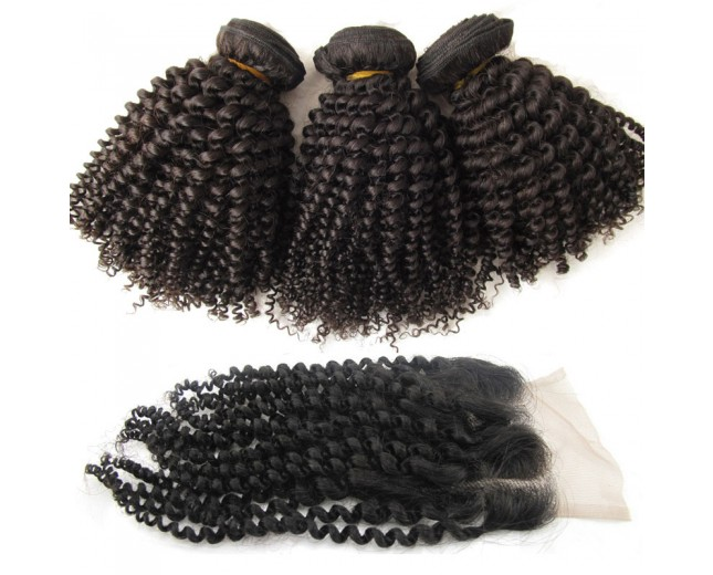 3 Bundles Kinky Curly Hair with 1pc Lace Closure Virgin Brazilian Hair BL006