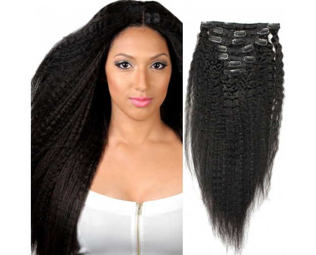 120G Brazilian Kinky Straight Clip in Human Hair Extensions CR0026