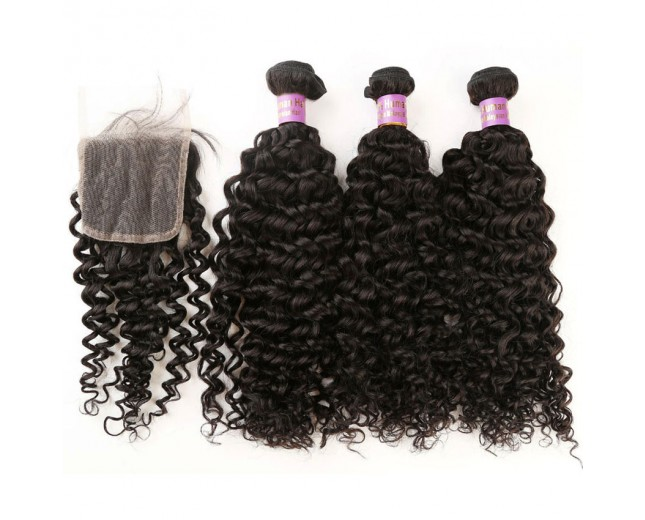 3 Bundles Curly Hair with 1pc Lace Closure Virgin Malaysian Hair ML006