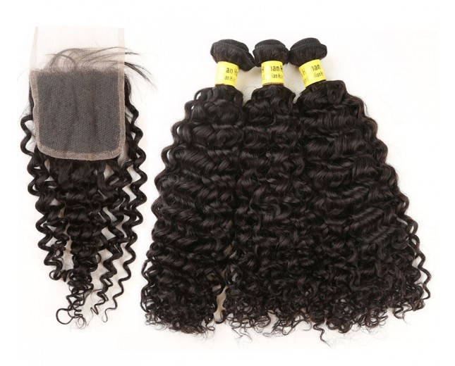 3 Bundles Curly Hair with 1pc Lace Closure Virgin Brazilian Hair BL0016
