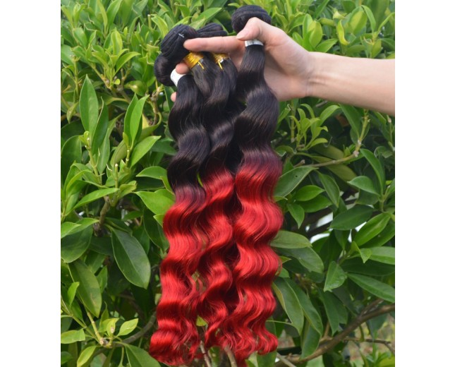 Brazilian Ombre Loose Wave Remy Hair Two Tone Color 1B/Red BR0033