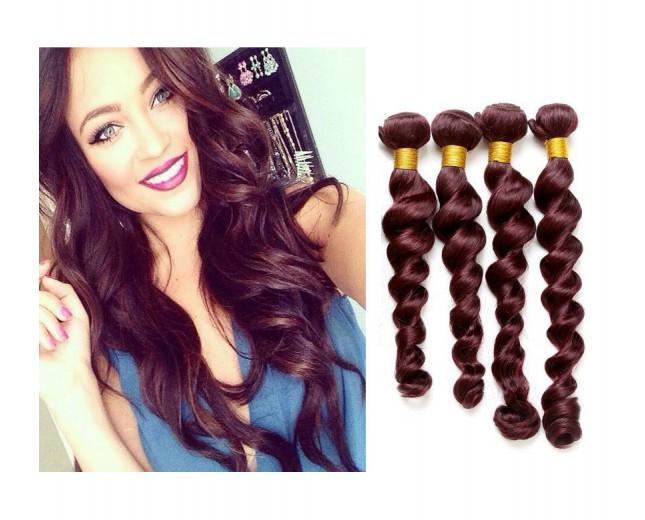 Brazilian Virgin Hair Weave Loose Wave 99J# Burgundy BV0041