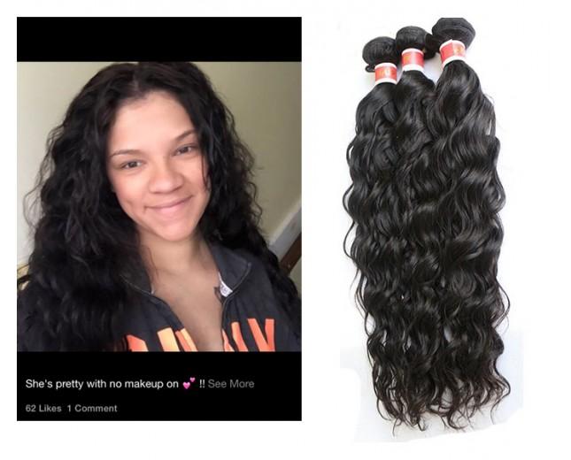 3pcs/lot Natural Curly Virgin Peruvian Hair Bundles PD003