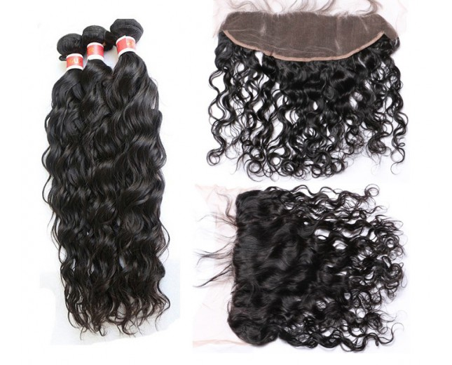 3 Bundles Natural Curly Hair with 1pc 13''*4'' Lace Frontal Virgin Peruvian Hair PF009