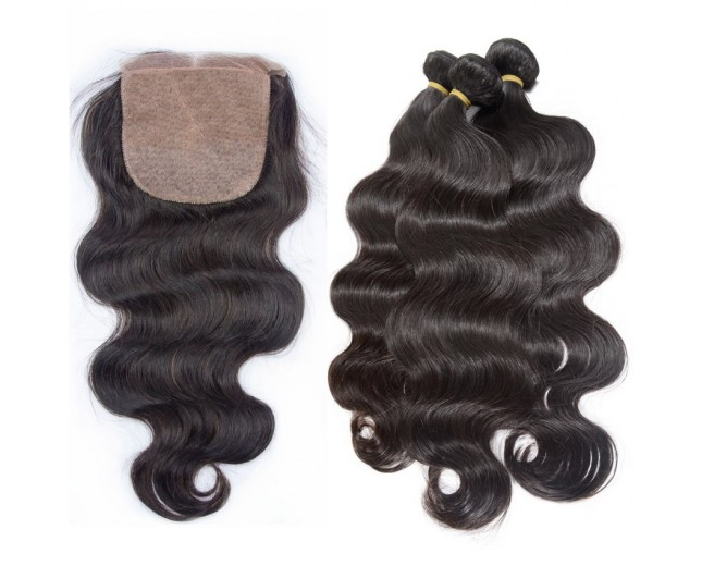 3 Bundles Peruvian Body Wave Virgin Hair with Silk Base Closure PS001