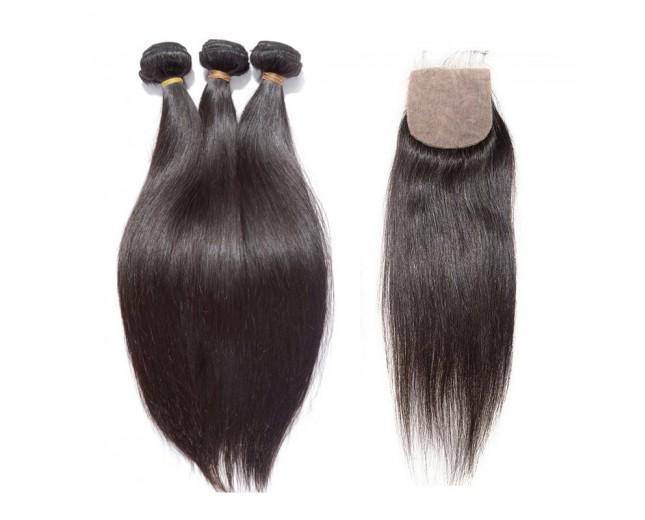 3 Bundles Brazilian Straight Virgin Hair with Silk Base Closure BS002