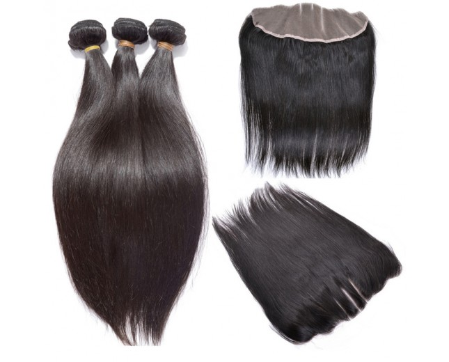 3 Bundles Straight Hair with 1pc 13''*4'' Lace Frontal Virgin Brazilian Hair BF002