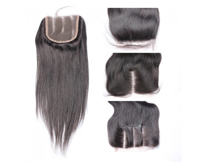 Brazilian Straight Lace Closure Free Middle 3 Part Virgin Hair Closure LC001